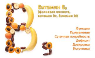 Витамин В9 (Фолиевая кислота). Функции, источники и применение фолиевой кислоты